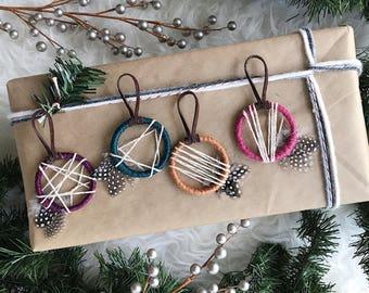 Dream Catcher Christmas Ornaments, Holiday Gifts for Friends, Boho Dreamcatcher Gift, Bohemian Christmas Decor, Colorful Xmas Ornament Set