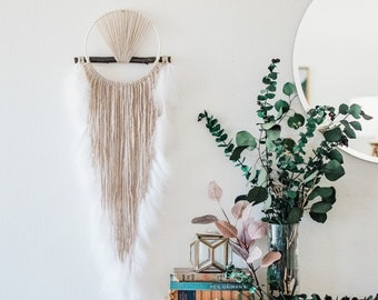 Sunrise Dream Catcher Wall Hanging - Hygge Home Decor - Macrame Dreamcatcher - Modern Bohemian Wall Art - Unique Boho Housewarming Gift