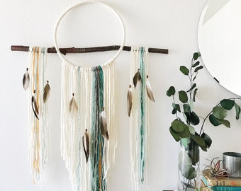 Large Dream Catcher Wall Hanging, Boho Dreamcatcher For Bedroom, Bohemian  Wall Art, White Dream Catcher, Fiber Art, Modern Boho Home Decor