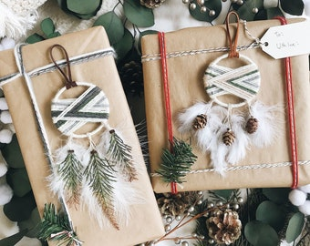 winter cabin dream catcher christmas ornaments set of 2 boho christmas decor - Boho Christmas Decor