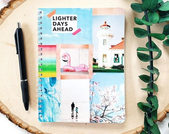 """5""""x7"""" Lighter Days Ahead Spiral Notebook - Junk Journal - Travelers Notebook - Custom Notebook - Birthday Gift for Her -Small Lined Notebook"""