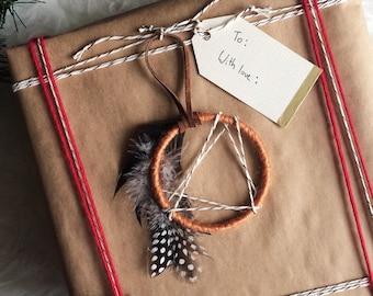 Mini Dream Catcher Christmas Ornament - Modern Rustic Holiday Decor - Bohemian Hostess Gift - Modern Boho Gift Topper -Dreamcatcher Ornament
