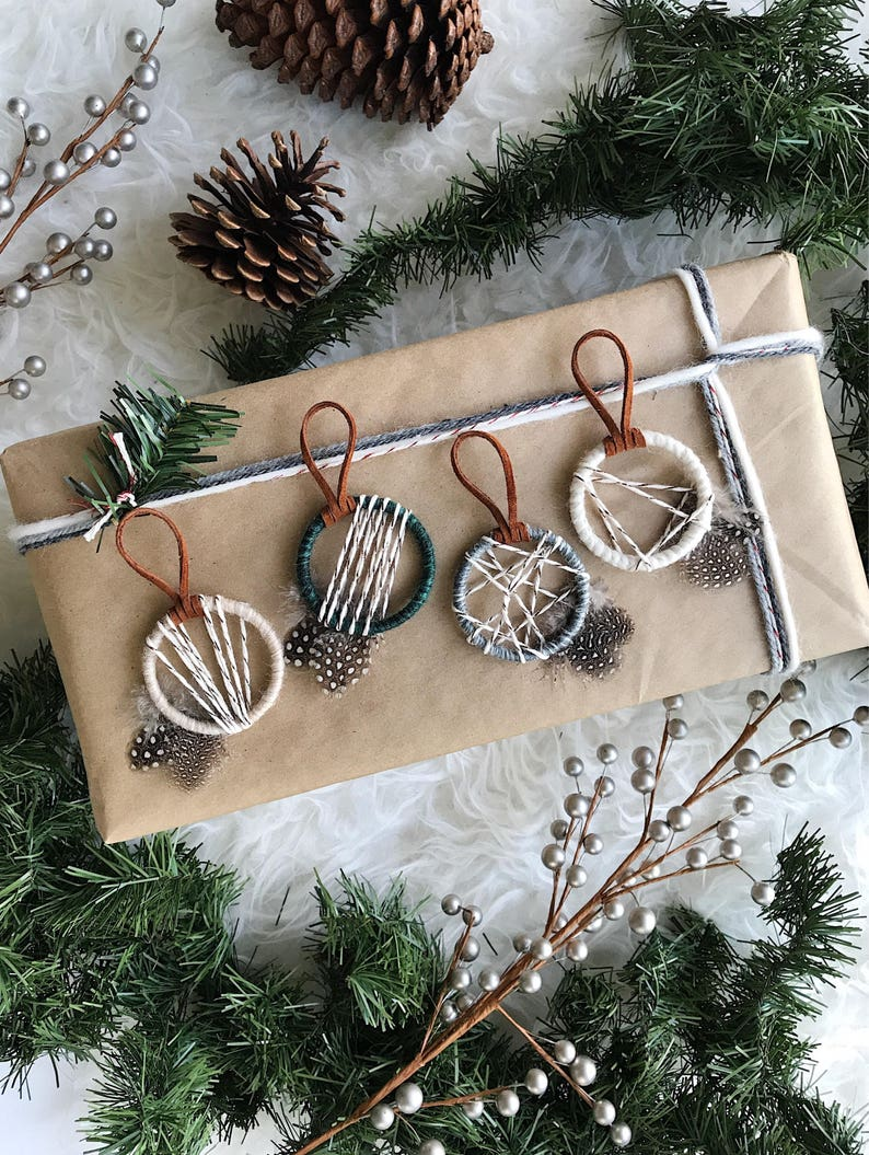 Etsy Christmas Ornaments.Woodland Christmas Ornaments Nordic Snowfall Ornaments Modern Winter Decor Rustic Holiday Xmas Gifts For Coworkers Small Dreamcatcher