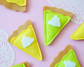 Catnip Fruit Pie Slice, Banana Cream Pie Cat Toy, Key Lime Pie Cat Toy