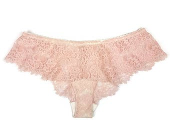 Lace French Panties | Cheeky Panties | Pink Panties | Sheer Panties || by Thrill Factory Lingerie