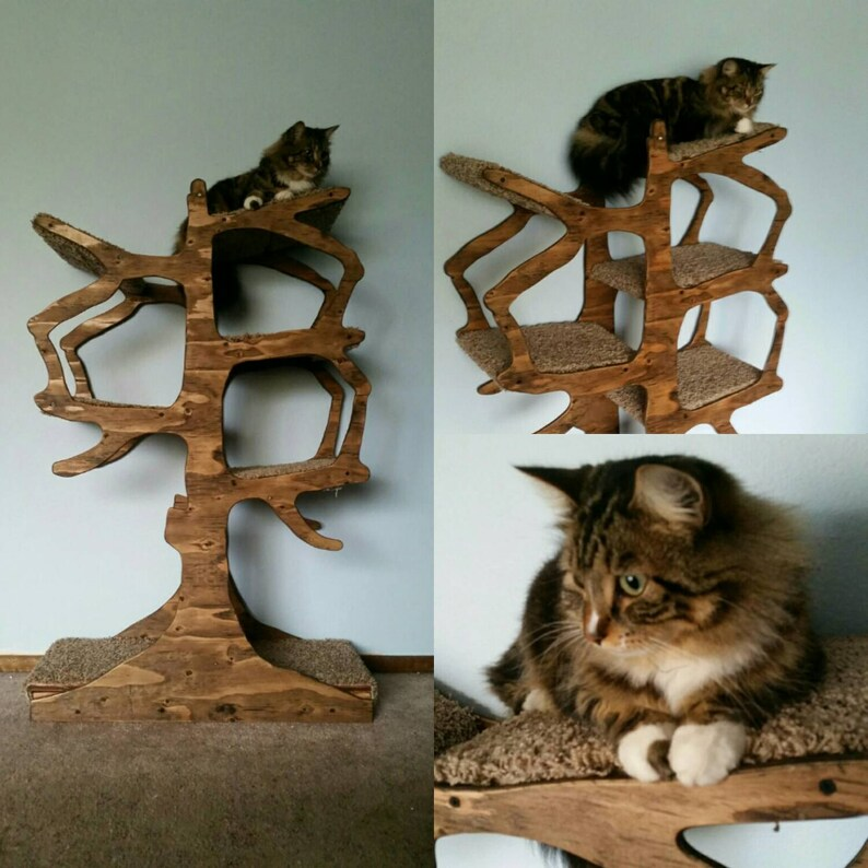 Handmade Cat Tree Shaped Like a Tree image 0