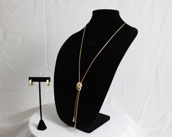 Vintage Monet Cream Enamel Gold Tone Necklace and Earrings Set