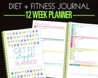 12 Week Food Diary & Workout Tracker, Weight Loss Notebook - 3 Month Fitness Planner - Motivational Weight Loss, Fitness Journal