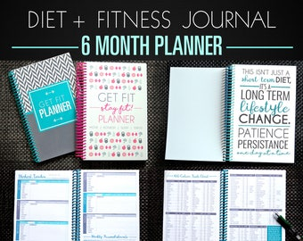 Fitness Diet Planner - 6 Month Diet Diary, Weight Loss Journal, Nutrition Tracker, Paleo, IIFYM, Motivation TEAL TURQUOISE A5