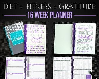 Fitness Diet Planner - 16-WEEK - 4 MONTH A5 Diet Diary, Weight Loss Journal, Nutrition Tracker, Paleo, IIFYM, Motivation Journal in Purple