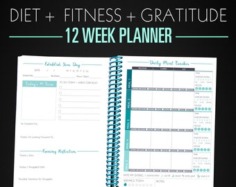 Workout Tracker Fitness Journal - 12 Week Get Fit Planner in TEAL color, Motivation Diet & Fitness Journal - 3 Months