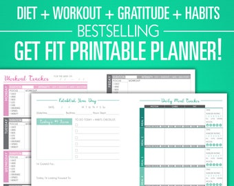 Printable Fitness Planner - Nutrition, Workout, Gratitude Bundle - A5 Sizes - Digital PDF - Diet, Weight Loss, Habits Exercise Journal Diary
