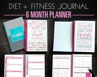 Fitness Diet Planner - 6 Month Diet Diary, Weight Loss Journal, Nutrition Tracker, Paleo, IIFYM, Motivation PINK A5