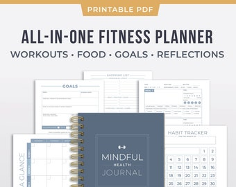 graphic regarding Printable Workouts Pdf named Printable Exercise Planner Nutrients Exercise Graude Etsy