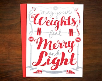 Crossfit inspired christmas cards making spirits bright and etsy weightlifting christmas cards may your weights feel light crossfit fitness barbell powerlifting holiday greeting card m4hsunfo