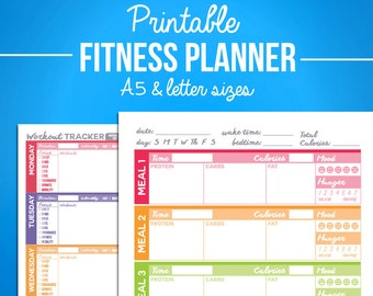 printable food fitness diary journal trackers digital pdf etsy