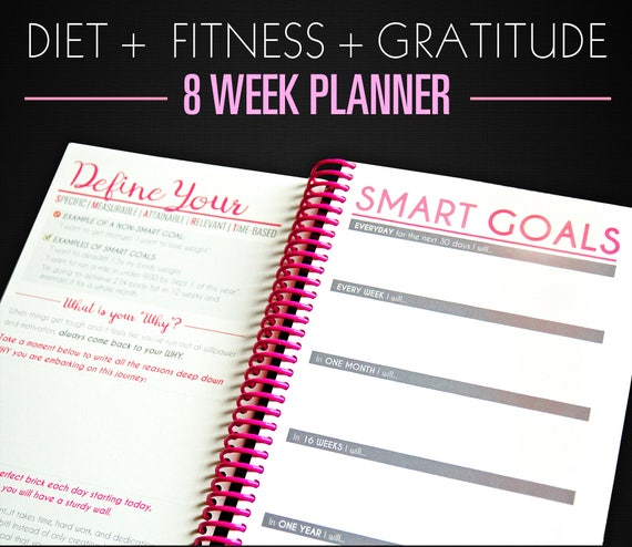 8 week diet diary nutrition weight loss planner diet diary etsy