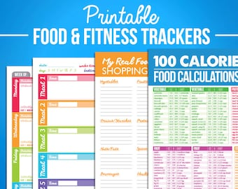 Printable Food & Fitness Diary Journal Trackers - Digital PDF Download - Weight Loss Diet Nutrition Crossfit Calorie Tracker