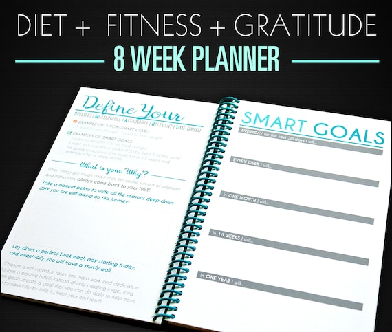 8 week nutrition food journal workout planner teal etsy