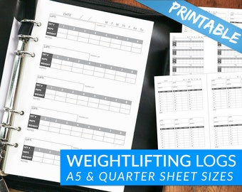 Weightlifting Workout Journal Tracking Pages - Printable PDF - Powerlifting, Strength Log, Crossfit, Fitness - Full A5 Quarter Sizes