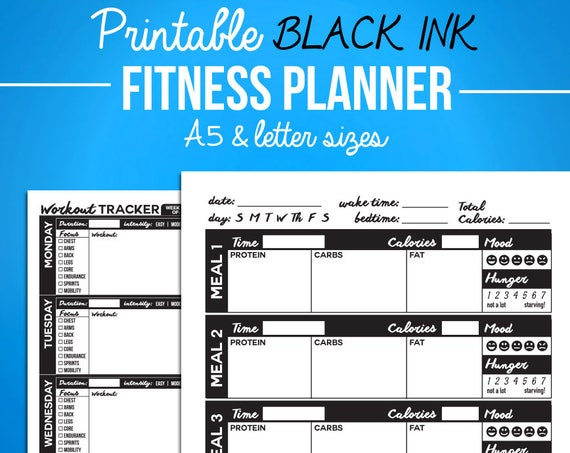 printable fitness journal black diet diary nutrition etsy