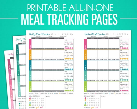 Printable Meal Tracking Pages Nutrition Log Weight Loss Etsy