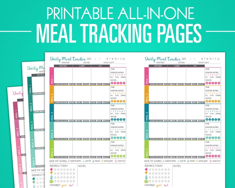 graphic about Meal Tracker Printable named Printable Evening meal Monitoring Internet pages - Vitamins Log, Excess weight Reduction Planner, Diet regime Magazine, Diet program Planner, Dinner Templates - A5 + Letter Sizing PDF
