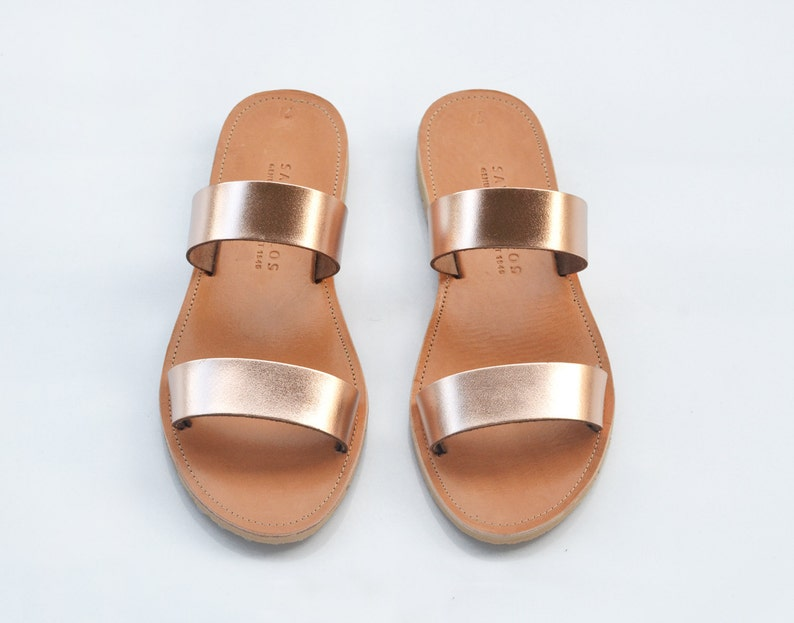 5cebbee4f26 Leather sandals Two strap greek sandals in rose gold leather