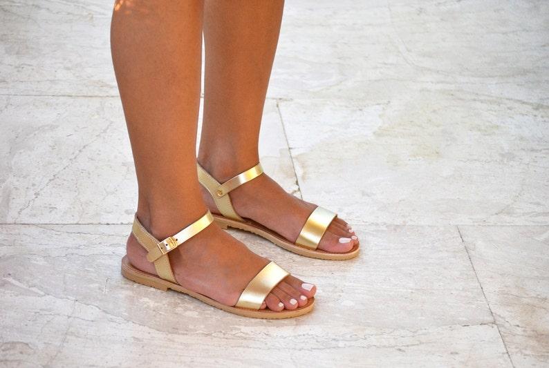 Sandals, Gold Leather Sandals, Greek sandals, Ankle strap leather sandals, Handmade greek sandals women, YASEMI