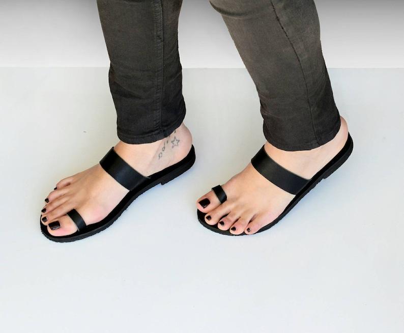 Sandalen Teen GriekseEtsy Zwarte Lederen Ring O0nwk8P