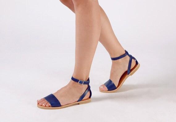 grande selezione del 2019 vasta selezione nessuna tassa di vendita Sandali donna, sandali, sandali greci, scarpe di cuoio, Sandali blu, scarpe  blu, donna Sandali, NAFSIKA