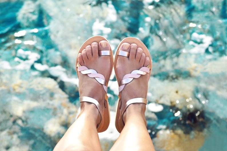 Greek sandals, Sandals women, Leather sandals, Rose gold sandals, sandales grecques, wedding sandals , ANDROMEDA