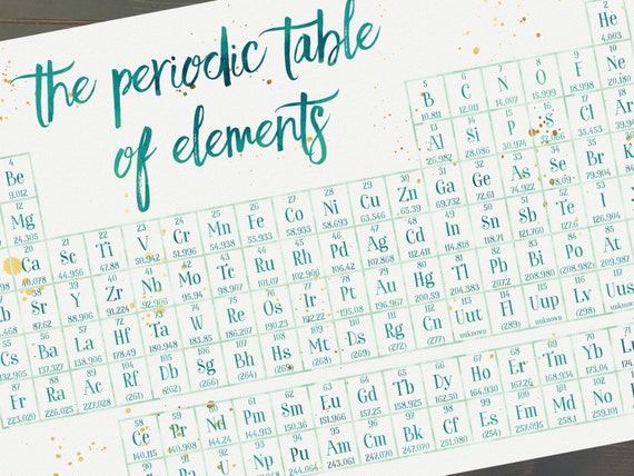 Periodic Table Of Elements Print Science Poster Chemistry Etsy