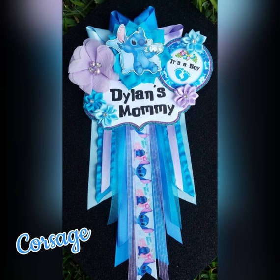 Baby Boy Stitch Themed Mommy To Be Baby Shower Corsage Or Etsy