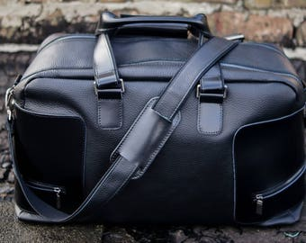 Black leather holdall duffle bag Leather duffle bag men Leather travel bag men Leather gym bag holdall Leather gym bag men Luggage bag men