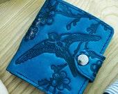 Blue Leather Wallet Slim Womens Wallet Womans Bifold Leather Anniversary Gift Embossed Pattern Handmade Wallet Bird Swallow