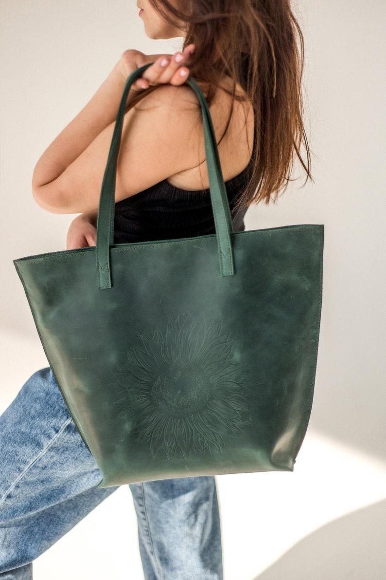 Personalized Unique Sunflower Leather Green Custom Minimalist Top Handle Boho Tote Womens Bag Handbag Vintage Flower Decor Embossed Pattern