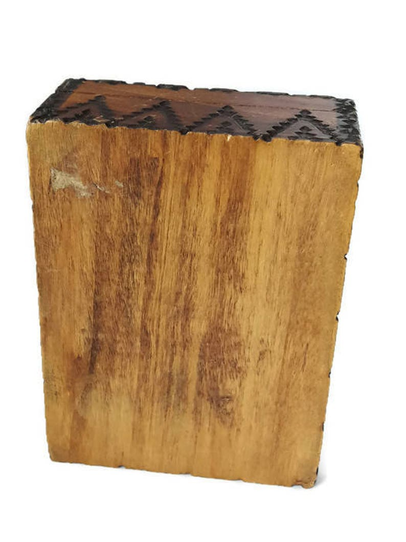 Theme Vintage French Boli/'s old pyrograved box