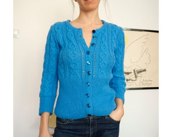 69445fb182 50s Knit Sweater Handmade Cardigan Button Up Distressed Sexy Super Soft  Retro Sweater Cable Knit Sweater Small Medium