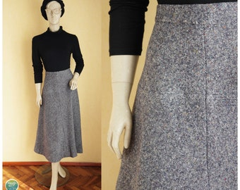 8632ce7bb2f2c6 Donegal Tweed Skirt 70s Textured Wool Skirt Mid Calf Long Skirt Vintage A  Line Gored Skirt High Waist Midi Winter Skirt Medium