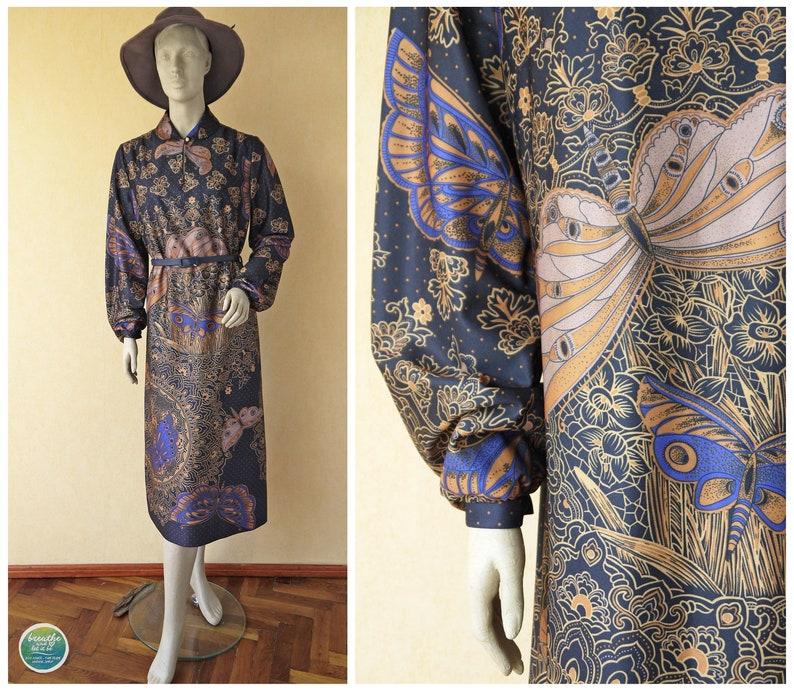 57af3d0e41 Art Deco Butterfly Dress 60s Psychedelic Caftan Dress Peter | Etsy