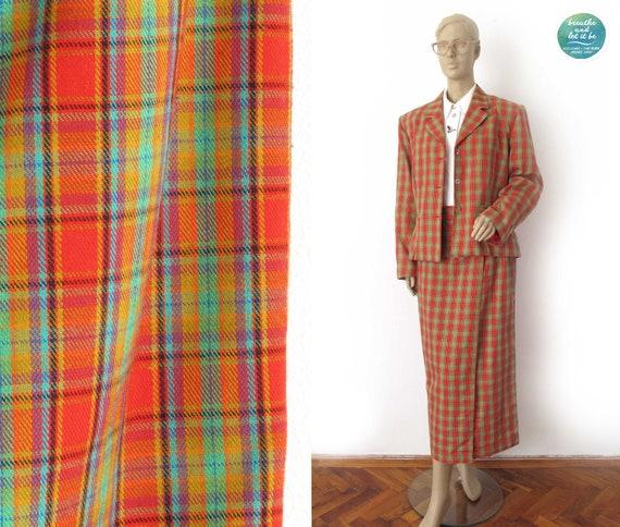 breathe 90s Plaid Skirt Suit Vintage Checked Blaze