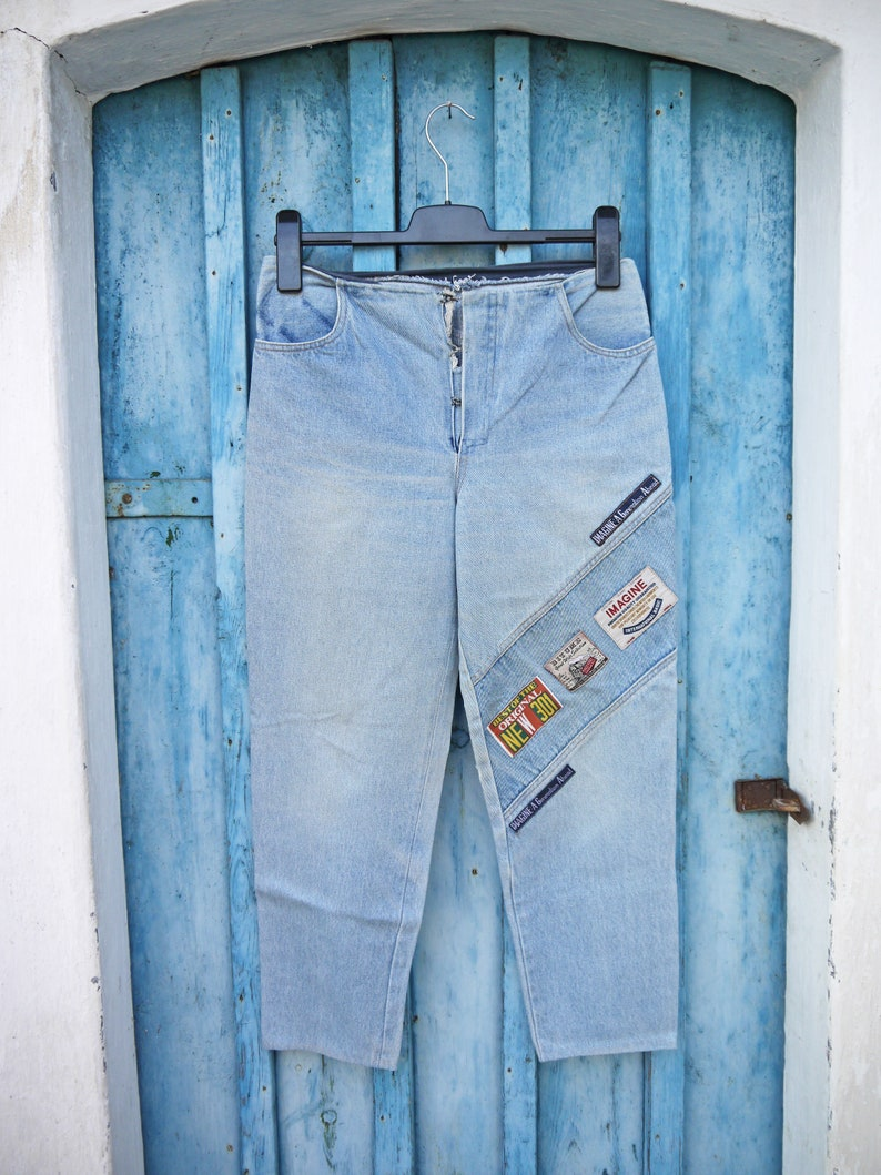 MovingSALE Upcycled Jeans Vintage Patchwork Jeans Denim Capri 90s OOAK Jeans with Loads of Patches Low Waist Jeans Tapered Leg