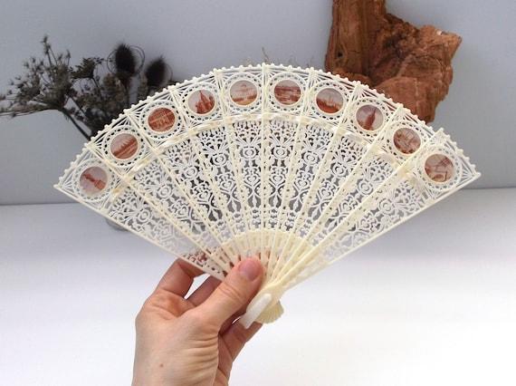 Vintage Christmas gift Ivorine Lace Hand Fan Vintage Wedding Accessory Vintage Plastic Fan Vintage Laser Cut Ivory Plastic Fan