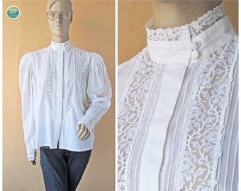 RESERVED for lilouth 70s Lace Blouse White High Neck Puff Sleeve Shirt Lace Collar Tuxedo Pleated Cotton Top Vintage Dirndl Top Large