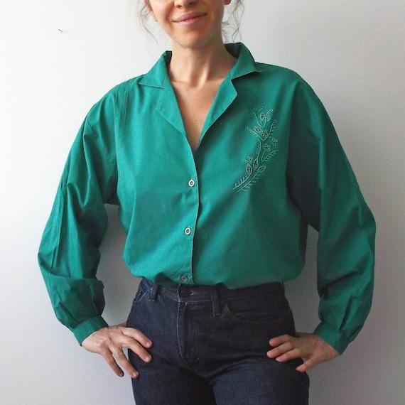 breathe Cut Out Embroidery Top 80s Dark Green Plea