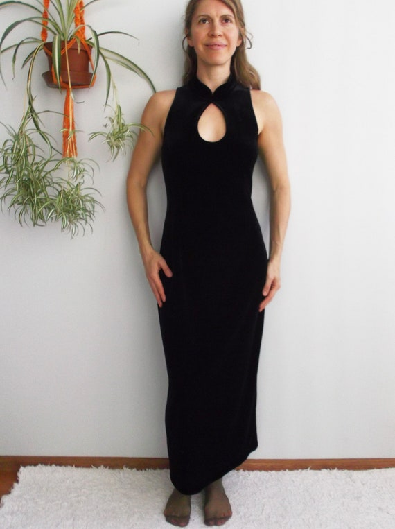 Velvet Keyhole Dress Black Velvet Maxi Dress Vinta