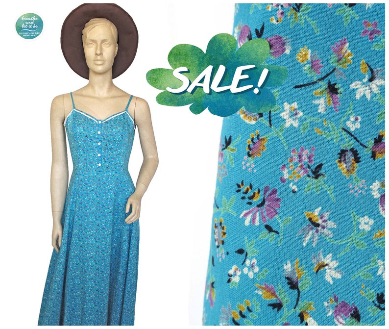 54d267b57f Sale Betty Barclay Summer Maxi Dress 80s Floral Print Cotton