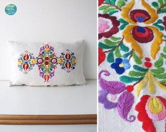 Vintage Colorful Embroidery Pillow Cover Hand Embroidery Pillow Case Linen Cushion Cover Traditional Hungarian Decorative
