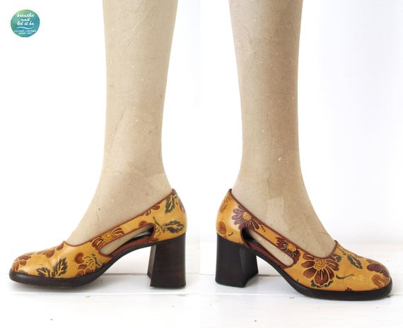 breathe Chunky Floral Heels Cut Out Side Shoes Fl… - image 4